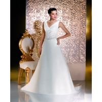 Simple A-line Straps V-neck Beading Lace Sweep/Brush Train Satin&Organza Wedding Dresses - Dressesular.com