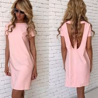 Casual Loose Short Sleeve Sexy O-Neck Hollow Open Back Straight Slim Solid Party Dresses $24.95