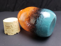 Teal, Black, and Orange Glass Stash Jar - About 5 inches tall $30.00