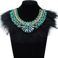Fashion Jewelry Chain Feather Crystal Green Glass Chunky Choker Statement Bib Necklace