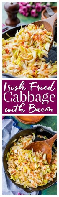 Irish Fried Cabbage and Bacon is a simple recipe that's pan fried in bacon grease and loaded up with bacon pieces and onion and seasoned with brown sugar, salt, and pepper. via