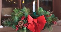 Holiday Window Swag with Candle | Outdoor Holiday Decorations