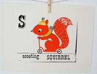 Scooting Squirrel Limited Edition Screen print