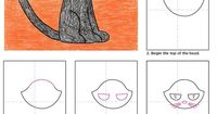 How to draw a very cute black cat for Halloween. #artprojectsforkids #blackcat #Halloween #howtodraw
