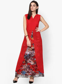 Red Colored Printed Maxi Dresses �'�1295.00