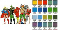 DC comic colour chart. This was all the colors they could use. Boy, we've got it easy in a lot of ways nowdays, don't we?
