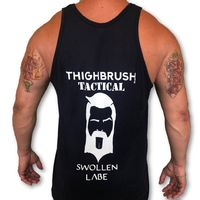 """THIGHBRUSH® TACTICAL - """"Swollen Labe"""" - Men's Tank Top - Navy Blue and White"""