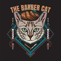 The barber cat | Premium Vector.