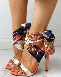 Satin Print Cross Strap Tie Back Stiletto Heels at www.fashionsqueen.com