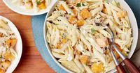 Get this all-star, easy-to-follow Penne with Butternut Squash and Goat Cheese recipe from Giada De Laurentiis