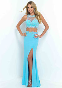 Amazing Two Piece High Illusion Beaded Lace Top Sky Prom Dresses