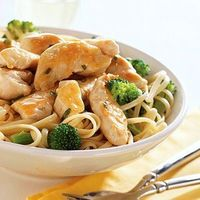 This quick recipe features chicken, broccoli and pasta all topped in a light sauce. It's a complete healthy meal in just 25 minutes.