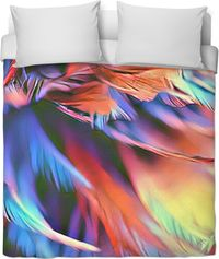 Colored Feathers Duvet Cover $120.00