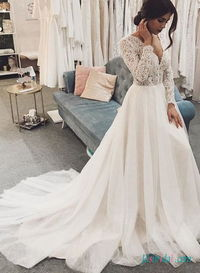 H0513 Romance long sleeved lace ball gown wedding dress More Details:https://bit.ly/3dflB1z