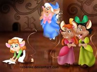 Cinderella, Fairy Godmother, Anastasia & Drizella [all as mice] (As Animals by Rebenke