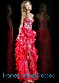 Hi-low Organza Ruffled 2014 Coral Strapless Embroidered Mullet Dress