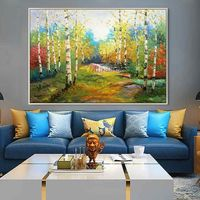 Forest painting acrylic canvas painting green yellow landscape oil painting Wall Art Pictures for living room home decor caudros decoracion $109.00