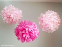 As promised here's the tutorial for making tissue paper pom poms. Surprisingly quick to put together and they add a burst of color to any room or party!