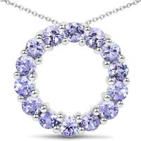 1.4TCW Blue Purple Tanzanite Circle Pendant Necklace $63.00