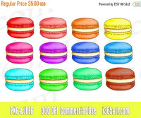 50% Off Sale Macaroons Clipart Clip art, Macaroons, Macaroon Graphics, Invitations, macaron clipart, digital, Desserts, PNG JPEG, Download on etsy by I365art