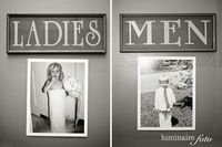 Create fun signs for the restrooms at your wedding venue that incorporate childhood photos of you and the groom.