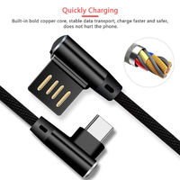 Bakeey 90 Degree Right Angle Braided USB Type-C Charging Data Cable for Samsung Xiao Huawei