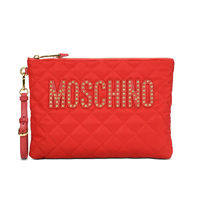 MOSCHINO STUDDED LOGO QUILTED CLUTCH RED