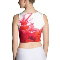 Purple and Red Ink Pool on White Cut & Sew Crop Top $28.95