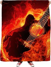 Flamin Guitar Fleece Blanket $65.00