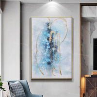 Gold Leaf texture painting Framed wall art blue painting Abstract acrylic paintings on canvas art original painting Large wall art $123.75