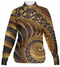 ELEGANT BLACK GOLD SHELL SWIRL Button Down Shirt