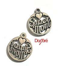 Pack of 10 Silver Coloured Mom Charms. 8mm Super Mum Pendants £5.19