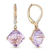 5.24ct Cushion Checkerboard Pink Amethyst & Round Cut Diamond Dangling Earrings in 14k Rose Gold