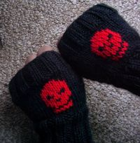 Skully Fingerless Mitts - Knit
