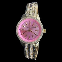Gold Women's Studded Classical Pink Dial Watch £8.95