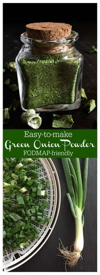 Green Onion Powder is an easy way to add FODMAP-friendly flavor to your meat, sauces, dressings and seasonings! A perfect herb/spice to add to your own recipe.