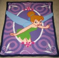 Tinkerbell Picture Hand Made Crocheted Afghan by cuddleupcreations, $85.00