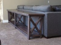 Extra long, no middle shelf Rustic X Console   Do It Yourself Home Projects from Ana White