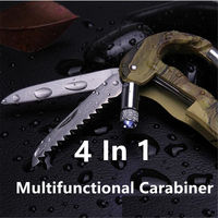 4 In 1 Multifunctional Outdoor Army Green Survival Carabiner With LED Light $9.30