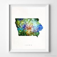 Iowa Watercolor Map Print by Inkist Prints - Available at https://www.inkistprints.com