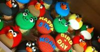 Angry Bird Cupcakes.postis just a fun photo. Obviously used Fondant and had fun with it. Bakindom.com has a terrific marshmellow fondant recipe for this kind of designing. She made Star Trek cookie designs with hers and Harry Potter. This is so fun.