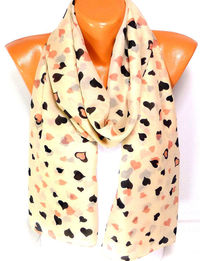Free Shipping, Heart Printed Scarf, Shawl, Scarves, Chiffon Scarf, Heart Scarf, Lightweight Summer Scarf, Gift For Christmas For Mothers day $15.00