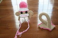 PINK Sock Monkey Newborn Baby Hat & Diaper Cover Photography Prop..love the tail..lol