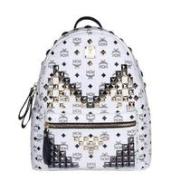 MCM Medium Stark M Studded Backpack In White