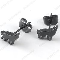 1 Pair Black 22G/0.6mm Stainless Steel Wolf Men Ear Stud Earring Punk Gothic
