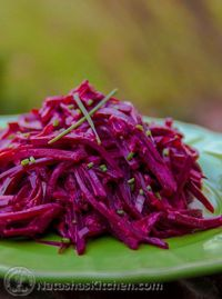 This beet salad is easy and quite tasty. I love a good beet; from my head down to my feet. They're so healthy and used quite often in Russian and Ukrainian cooking; especially in borscht. Kids love that they're sweet�€� I love that they&...
