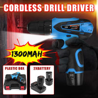 12V Cordless Drill Driver Screw Electric Screwdriver with 2 Lithium-ion Battery