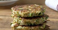 Zucchini Fritters!!! For my adaptation of this recipe I mixed: 2 cups grated zucchini, 1 tbsp basil, 1 tsp garlic, 1/4 cup chopped bell pepper, 1/3 cup Red Mill Gluten-free flour, 1 egg, 1/2 tsp pepper, 1/4 tsp salt, a sprinking of Daiya dairy-free mozzar...