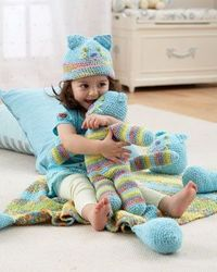 Crochet huggable toy cat, matching hat, and a blanket that hugs back!