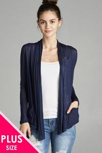 Ladies fashion plus size long sleeve flyaway/ cardigan w/ side pockets